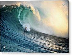 Big Wave Surfer At Jaws, Maui, Hawaii Acrylic Print by Kjell Linder