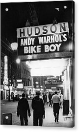 Bike Boy At The Hudson Theatre Acrylic Print by Fred W. McDarrah