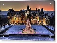 Biltmore Christmas Night All Covered In Snow Acrylic Print