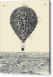 Birds Flock In Balloon Formation Flying Acrylic Print by Ryger