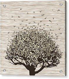 Birds Like Leaves On A Tree Acrylic Print by Ryger