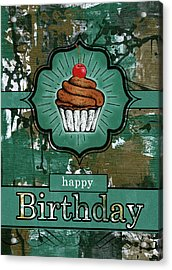 Birthday Teal And Brown Urban Graffiti With Cupcake Acrylic Print