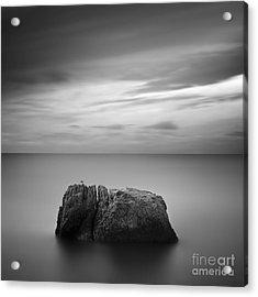 Black & White Rocky Seascape Scene With Acrylic Print