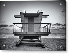 Black And White Lifeguard Stand In Acrylic Print