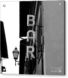 Black And White Neon Lights Spelling Acrylic Print