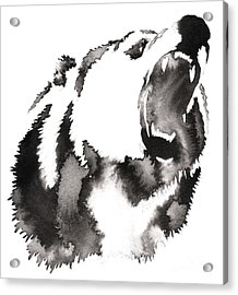 Black And White Painting With Water And Acrylic Print