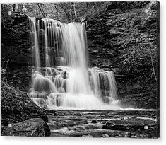 Black And White Photo Of Sheldon Reynolds Waterfalls Acrylic Print