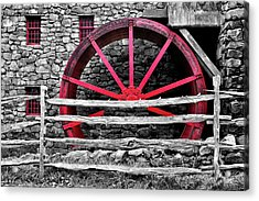 Black And White With Red - Grist Mill Acrylic Print