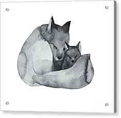 Black Fox And The Baby-watercolor Acrylic Print