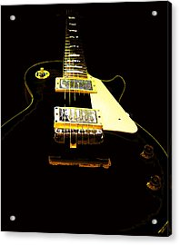 Black Guitar With Gold Accents Acrylic Print