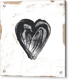 Acrylic Print featuring the mixed media Black Heart- Art By Linda Woods by Linda Woods