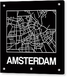 Black Map Of Amsterdam Acrylic Print