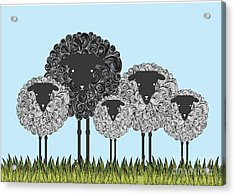 Black Sheep Illustrationvector Acrylic Print