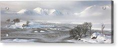 Acrylic Print featuring the photograph Blackmount Winter Sunrise - Glencoe - Scotland - Mist by Grant Glendinning