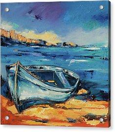 Blue Boat On The Mediterranean Beach Acrylic Print