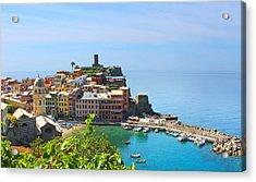 Blue Cinque Terre Acrylic Print by Christine Buckley