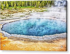 Acrylic Print featuring the photograph Blue Crested Pool At Yellowstone National Park by Tatiana Travelways