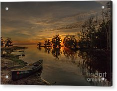 Acrylic Print featuring the photograph Blue Cypress Canoe by Tom Claud