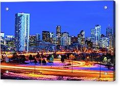 Blue Hour Over Denver Acrylic Print