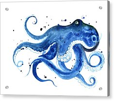 Blue Octopus Silhouette Watercolor Acrylic Print