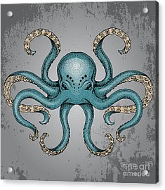 Blue Octopus With Grunge Background In Acrylic Print