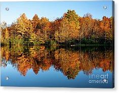 Blue Ridge Parkway Autumn Mirror Image Acrylic Print by Dan Carmichael