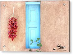 Blue Shutters And Chili Peppers Acrylic Print