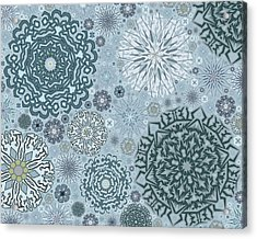 Blue Snowflake Pattern Acrylic Print by Bodhi Hill