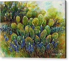 Bluebonnets And Cactus 2 Acrylic Print
