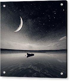 Boat On Lake At Night Acrylic Print by Mateusz Sawicki / Eyeem