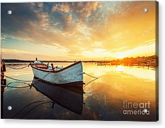 Boat On Lake With A Reflection In The Acrylic Print