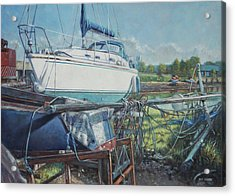 Boat Out Of Water With Dumped Parts At Marina Acrylic Print by Martin Davey
