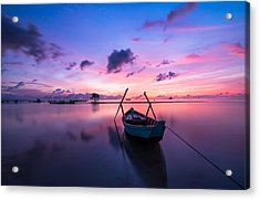 Boat Under The Sunset Acrylic Print