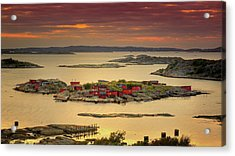 Boathouses In Sweden Acrylic Print by Mikael Tigerström