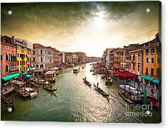 Boats And Gondolas On The Grand Canal Acrylic Print