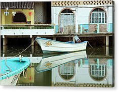 Boats On Still Lagoon Acrylic Print by Blind Dog Photo Dan Gair