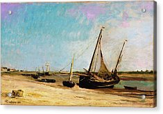 Boats On The Seacoast At Etaples - Digital Remastered Edition Acrylic Print