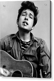 Bob Dylan Portrait With Acoustic Guitar Acrylic Print