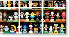 Bobbleheads In Store Window In Schroon Lake Ny In Adirondacks Acrylic Print