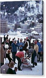 Bobsledding In St. Moritz Acrylic Print by Slim Aarons