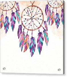 Boho Dreamcatcher - Boho Chic Ethnic Nursery Art Poster Print Acrylic Print
