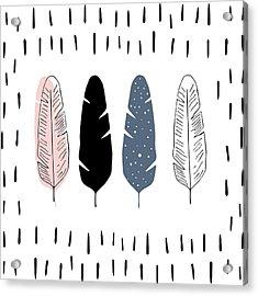 Boho Feathers - Boho Chic Ethnic Nursery Art Poster Print Acrylic Print