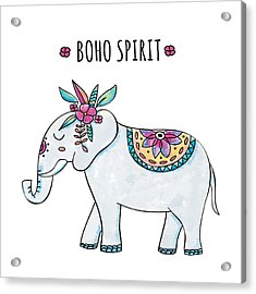 Boho Spirit Elephant - Boho Chic Ethnic Nursery Art Poster Print Acrylic Print