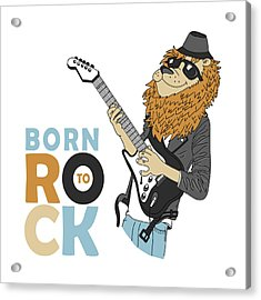 Born To Rock - Baby Room Nursery Art Poster Print Acrylic Print