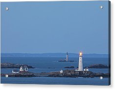 Acrylic Print featuring the photograph Boston Light And Graves Light by Juergen Roth