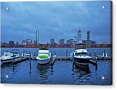 Acrylic Print featuring the photograph Boston Skyline At Night In Autumn by Joann Vitali