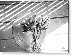 Bouquet And Plate-bw Acrylic Print