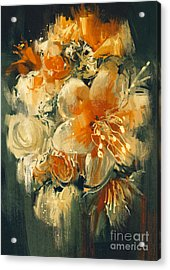 Bouquet Flowers In Oil Painting Acrylic Print