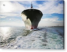 Bow View Of Cargo Ship Sailing Out Of Acrylic Print