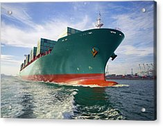 Bow View Of Loaded Cargo Ship Sailing Acrylic Print